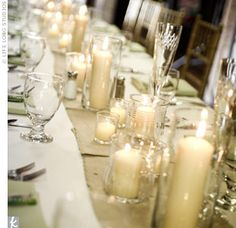 Candle centrepieces.