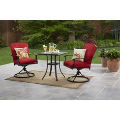 Cushioned Outdoor Bistro Set 3-Piece Swivel Base Chairs Glasstop Table Seats 2 #PatioFurniture