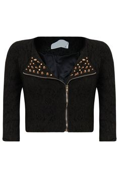Black Lace Cropped Sleeved Gold Stud Trim Evening Jacket Crochet Fabric Fully Lined Studded Detail Double Breast Pattern Length Aprox Cotton Nylon