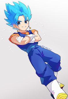Chibi Goku, Anime Chibi, Anime Art, Dragon Ball Z, Goku Blue, Western Anime, Gogeta And Vegito, Ball Drawing, Kiwi