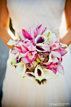 Orchid and calla lily bouquet   www.everafterevents.biz