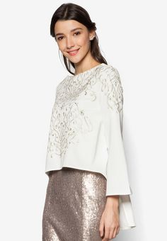 Embroidered Swing Top from Zalia in white_1