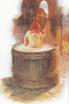 Nisse Having His Christmas Bath - Svein Solem Ook een kabouter moet in bad. Swedish Christmas, Christmas Gnome, Scandinavian Christmas, Gnome Pictures, David The Gnome, Mushroom Art, Elves And Fairies, Fantasy Forest, Gnome House