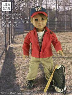 """Custom boy doll Fred is a big Nationals fan, so we made his cap with coordinating Kona cottons and an iron-on logo. Hat made using Lee & Pearl Pattern #1008: Classic Ball Cap and Big Fat Trucker Hat for 18"""" Dolls (American Girl Dolls) and outfit made using L&P 1010: Army Uniform for 18"""" Dolls. Both patterns are available in our Etsy store at https://www.etsy.com/shop/leeandpearl"""