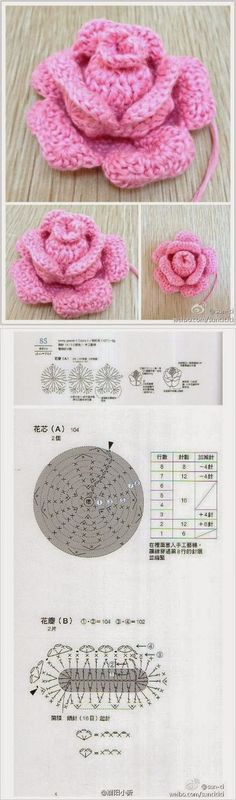Crochet Flowers / crochet rose na Stylowi. Crochet Chart, Knit Or Crochet, Crochet Motif, Irish Crochet, Crochet Stitches, Crochet Diagram, Knitted Flowers, Crochet Flower Patterns, Knitting Patterns
