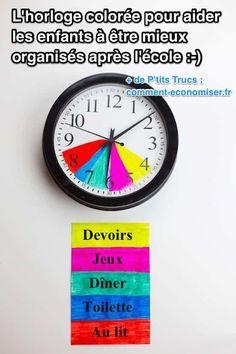 Cette horloge colorée permet aux enfants de suivre facilement un emploi du temps après l'école. Chaque couleur indique les créneaux horaires pour chaque activité. Comme ça, les enfants savent exactement ce qu'ils doivent faire heure par heure et tout au long de la soirée.  Découvrez l'astuce ici : http://www.comment-economiser.fr/horloge-coloree-pour-aider-enfants-a-s-organiser-apres-ecole.html?utm_content=bufferabac4&utm_medium=social&utm_source=pinterest.com&utm_campaign=buffer