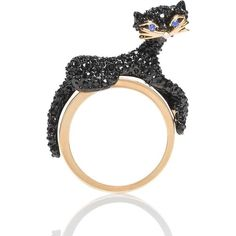 Kate Spade Jazz Things Up Pave Cat Ring ($98) ❤ liked on Polyvore featuring jewelry, rings, charm jewelry, cat rings, kate spade ring, pave jewelry and charm rings