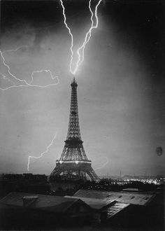we saw lightening strike Eiffel Tower in a summer storm, ran laughing thru the rain back to our hotel