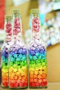 Rainbow candy bottles
