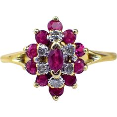 Diamond Ruby Cluster 10 Karat Yellow Gold Cocktail Ring