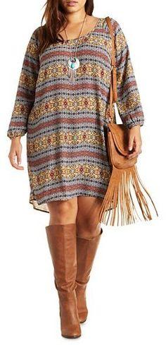 Plus Size Chiffon Shift Dress