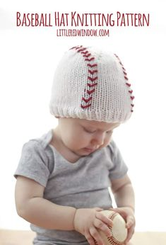 Knit up an adorable hat for your little slugger with this cute free baseball baby hat knitting pattern!
