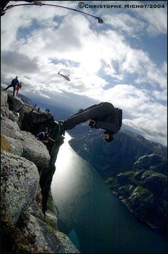 A picture of Jeb Corliss Base Jumping in Norway Dynamic Action, Point Break, Base Jumping, Skydiving, Amazing Adventures, Extreme Sports, Live Life, Places To Visit, Around The Worlds