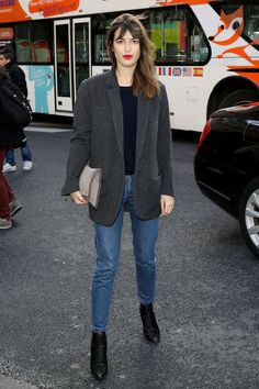 Jeanne Damas: A strong-shouldered jacket updates standard skinny jeans.