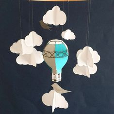 Colorful Birds, Baby Crib Mobile, Party Garland, Bird Mobile, Paper Frames