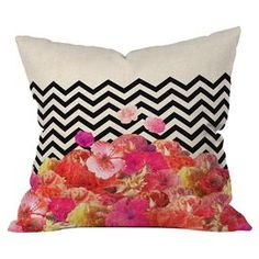 """Throw pillow with a chevron motif by artist Bianca Green for DENY Designs. Made in the USA.  Product: PillowConstruction Material: Woven polyester and fiber fillColor: MultiFeatures:  Designed by Bianca Green for DENY designsConcealed zipper Insert included Dimensions: 18"""" x 18""""Cleaning and Care: Spot treat with mild detergent"""