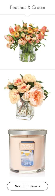 """""""Peaches & Cream"""" by airsunshine on Polyvore featuring home, home decor, vases, fillers, tulip vase, floral vases, floral home decor, floral decor, plants and flowers"""