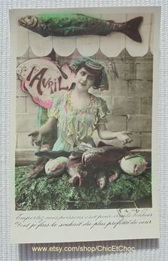 Vintage French Postcard - Woman and a Fish Stall (Poisson D'Avril / April 1st) by ChicEtChoc on Etsy