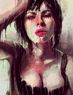 """Melthansson"" - A Giclée Print by Josan Gonzalez #inprnt #print #art #Illustration $20.00 #trippy #melting #makeup #girly"