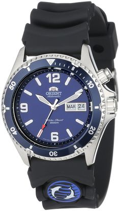 Orient Men's CEM65005D 'Blue Mako' Automatic Dive Watch With Black Rubber Band. Automatically powered watch with blue metallic rotating bezel and blue dial with month/date window at 3 o'clock. 41 mm stainless steel case with mineral dial window. Japanese automatic movement with analog display. Molded rubber band with buckle closure. Water resistant to 200 m (660 ft): In general, suitable for professional marine activity and serious surface water sports, but not scuba diving.