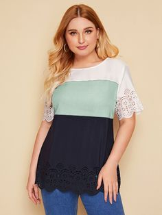 Plus Laser Cut Scallop Trim Colorblock Top , Plus Size Blouses, Plus Size Tops, Plus Size Women, Pop Fashion, Fashion News, Mens Fashion, Fashion Trends, Spandex Material, Laser Cutting