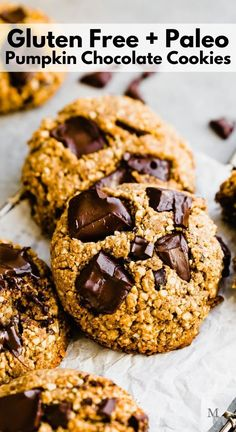 These gluten free, easy to make, and healthy pumpkin chocolate chip cookies are prepped in one bowl and made with raw cashews, dark chocolate, and canned. They are chewy, soft, and absolutely delicious. Dairy free, paleo recipe. #movementmenu #glutenfree #pumpkinrecipes #cookies #paleorecipes Paleo Cookie Recipe, Paleo Cookies, Healthy Cookie Recipes, Paleo Treats, Baking Recipes, Healthy Snacks, Best Gluten Free Recipes, Gluten Free Desserts, Delicious Desserts