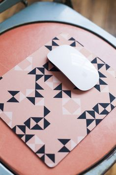 coral, blush, and black mouse pad - $10 (was $20) - think and ink studio - learning photoshop in brooklyn -