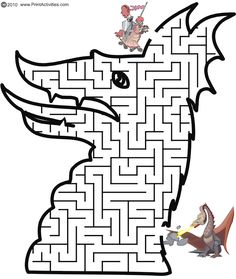 A dragon maze in the shape of a dragon's head. This fun free printable maze activity page is great for kids who enjoy maze puzzles and dragons. Medieval Crafts, Medieval Party, Printable Mazes, Free Printables, Fairy Tale Crafts, Maze Worksheet, Dragons, Mazes For Kids, Maze Puzzles