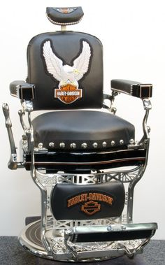 Restored Koken Barber Chair in Harley Davidson Motif