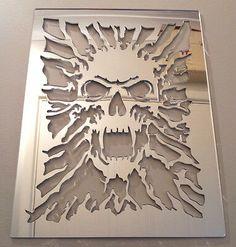 Skull Mirror, Shatterproof LASERCUT Stencil, Acrylic Mirror, Bedroom NEW From what I can half way figure conversion is about 20 bucks American Skull Stencil, Skull Art, Skull Furniture, Mirrors For Sale, Skull Decor, Acrylic Mirror, Scroll Saw Patterns, Skull Design, Cool Ideas