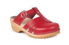 Closed toe clog sandal with an adjustable strap over the instep in red leather. check out the website for more info about these and our other clogs.