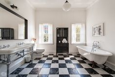 Pin for Later: Tour the Brooklyn Home Michelle Williams Just Sold For $8.8 Million Holy bathroom! Forget how big it is — we love the black-and-white checkered pattern of the floor. Source: Brown Harris Stevens