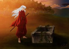 InuYasha waiting for Kagome by the well