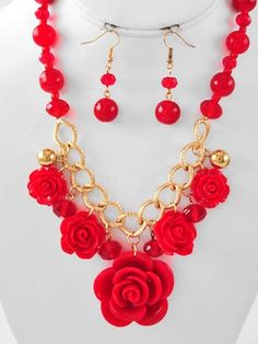 Chunky Red Moulded Roses and Bead Necklace Set