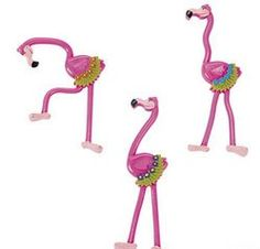 Bendable Flamingos.  Add this flock to your guest list! Dressed in tropical beachwear, these bendable vinyl flamingos are a perfectly pink addition to pool party or tropical goody bags