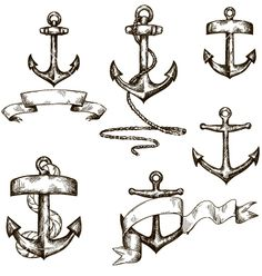 Set of hand drawn anchors and ribbons vector - by kamenuka on VectorStock®