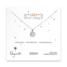 leo zodiac sterling silver necklace