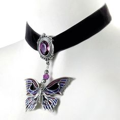 Deaths Head Butterfly Choker - Women's Clothing & Symbolic Jewelry –... ($100) ❤ liked on Polyvore featuring jewelry, necklaces, accessories, butterfly necklace, butterfly choker necklace, celtic necklace, goth choker necklace and sexy necklace