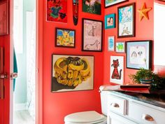 Budget-friendly updates and original children's artwork turn a boy's outdated bathroom into a playful place. See the full before-and-after makeover at HGTV.com.