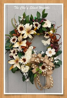 Cottage Chic Spring Wreath Summer Wreath by TheChicyShackWreaths