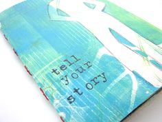Bow Tie Stitched Book - The cover of the book is a Gelli® print created with Golden Open Acrylics, a mask cut from a magazine and rubber stamps.