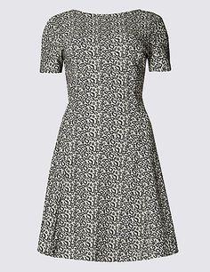 Cotton Rich Animal Print Fit & Flare Dress | M&S
