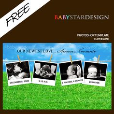 Download this adorable photoshop template from BABYSTAR DESIGN!!  Perfect for birth announcements, birthday invitations, craft projects, scrapbooking, stationery and many more! (Please note : this template is blank of text & photos and I attached simple instructions how to use the template). Hope you enjoy the template :-)  Format: photoshop (.psd), high quality 300 dpi.