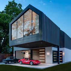 Matt Fajkus Architecture has created a two-storey home that features a garage at ground level and a home up above, part of which cantilevers over the site.