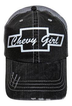 """NEW! Custom Made White Glitter """"Chevy Girl"""" on Grey Trucker Cap! Order now at www.shopspiritcaps.com!"""