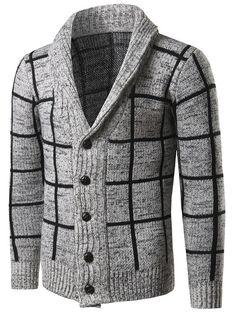 Turn Down Collar Grid Pattern Single-Breasted Cardigan