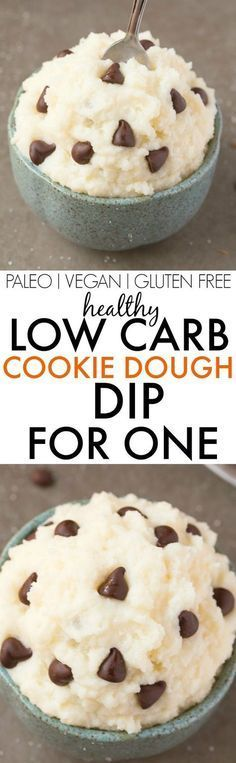 Healthy LOW CARB Cookie Dough Dip for ONE- A single serve, quick and easy dip which is thick, creamy and packed with protein- NO butter, sugar, dairy or cream! {vegan, gluten free, paleo recipe}- thebigmansworld.com