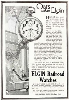 Elgin National Watch Co. / Elgin Railroad Watches advertisement from weekly employee journal, 1914.