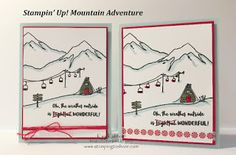 Stampin' Up! Mountain Adventures with How To Video, Kay Kalthoff, Winter Scene, Winter Cards, #stampingtoshare