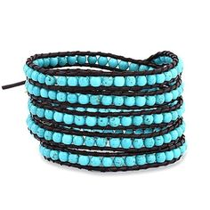 Chen Rai 5 Row Blue Wrap Bracelet on Brown Leather by Eve's Addiction -- Awesome products selected by Anna Churchill